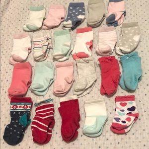 Lot of 22 Baby Girl Socks 3-12M